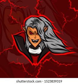 The handsome prince vampire logo mascot on Halloween festival
