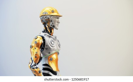 Handsome and strong robotic man, 3d rendering