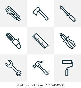 Handtools icons line style set with roller brush, hammer, wrench and other clamp elements. Isolated illustration handtools icons.