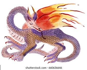 Handwork watercolor illustration of  dragon in white background.