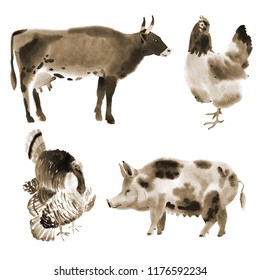 Handwork watercolor illustration of farm animals in white background.