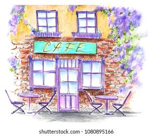 Handwork watercolor illustration. Street Cafe. Provence France.