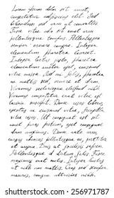 Handwriting old letter - latin text Lorem ipsum