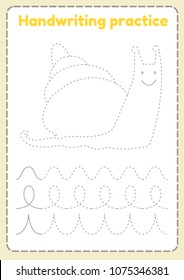 Handwriting practice. Preschool worksheet for practicing fine motor skills - tracing dashed lines. Illustration A4 paper ready to print. Funny cute snail