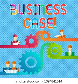 Handwriting text Business Case. Concept meaning provides justification for undertaking a project or program Cog Gear Setting Icon Connecting Men from Different Professional Character.