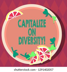 Handwriting text Capitalize On Diversity. Concept meaning Bringing together workers with different ethnicity Cutouts of Sliced Lime Wedge and Herb Leaves on Blank Round Color Plate.