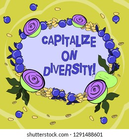 Handwriting text Capitalize On Diversity. Concept meaning Bringing together workers with different ethnicity Floral Wreath made of Tiny Seeds Small Glossy Pomegranate and Cut Beet.
