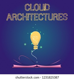 Handwriting text Cloud Architectures. Concept meaning Various Engineered Databases Softwares Applications