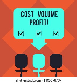 Handwriting text Cost Volume Profit. Concept meaning form of cost accounting and It is simplified model Blank Space Color Arrow Pointing to One of the Three Swivel Chairs photo.