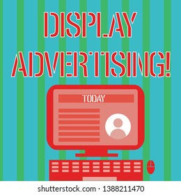 Handwriting text Display Advertising. Concept meaning online advertising that is typically a designed image Desktop Computer Mounted on Stand with Online Profile Data on Monitor Screen.