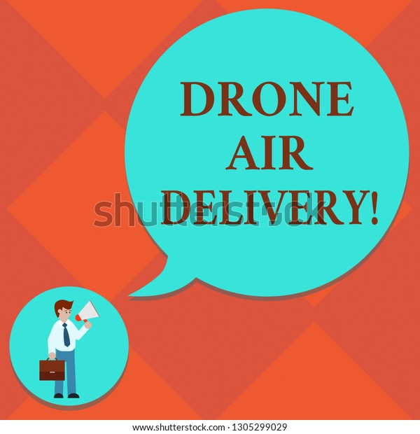 Handwriting Text Drone Air Delivery Concept Stock