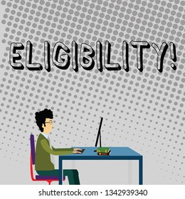 Handwriting text Eligibility. Concept meaning State of having the right for doing or obtain something Proper Businessman Sitting Straight on Chair Working on Computer and Books on Table.