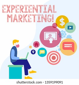 Handwriting text Experiential Marketing. Concept meaning marketing strategy that directly engages consumers Man Sitting Down with Laptop on his Lap and SEO Driver Icons on Blank Space.