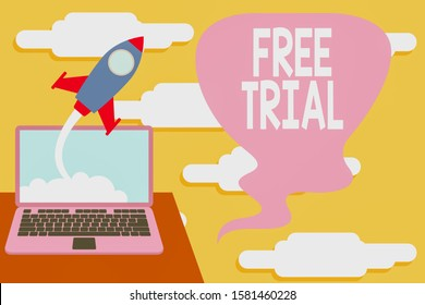 Handwriting text Free Trial. Concept meaning Product or service offered for no cost to try and give feedback Successful rocket launching clouds out laptop background. Startup growing.