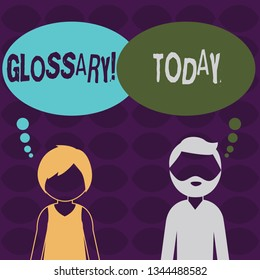 Handwriting text Glossary. Concept meaning Alphabetical list of terms with meanings Vocabulary Descriptions Bearded Man and Woman Faceless Profile with Blank Colorful Thought Bubble.