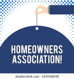 Handwriting text Homeowners Association. Concept meaning Organization with fee for upkeeps of Gated Community Male hand arm needle punching big half blank balloon geometrical background.