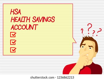 Handwriting text Hsa Health Savings Account. Concept meaning Supplements one s is current insurance coverage