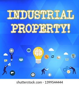 Handwriting text Industrial Property. Concept meaning the intangible ownership of a trademark or patent Business Digital Marketing Symbol, Element, Campaign and Concept Flat Icons.