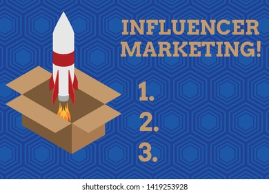 Handwriting text Influencer Marketing. Concept meaning Endorser who Influence Potential Target Customers Fire launching rocket carton box. Starting up project. Fuel inspiration.