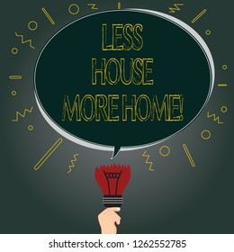 Handwriting text Less House More Home. Concept meaning Have a warm comfortable place to live with family love Blank Oval Color Speech Bubble Above a Broken Bulb with Failed Idea icon.