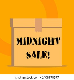 Handwriting text Midnight Sale. Concept meaning store will be open until midnight with big discount to items.