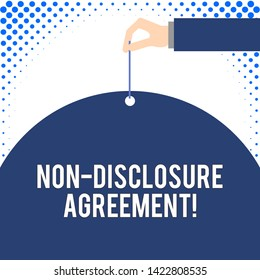 Handwriting text Non Disclosure Agreement. Concept meaning Legal Contract Confidential Material or Information Male hand arm needle punching big half blank balloon geometrical background.