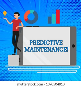 Handwriting text Predictive Maintenance. Concept meaning maintenance strategy driven by predictive analytics Man Leaning on Blank Smartphone Turned on Its Side with Graph and Idea Icon.