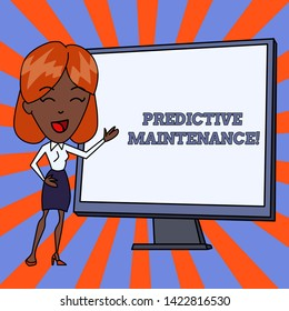 Handwriting text Predictive Maintenance. Concept meaning Predict when Equipment Failure condition might occur White Female in Standing Pointing Blank Screen Whiteboard Presentation.