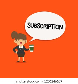 Handwriting text Subscription. Concept meaning Arrangement to receive something regularly by paying in advance