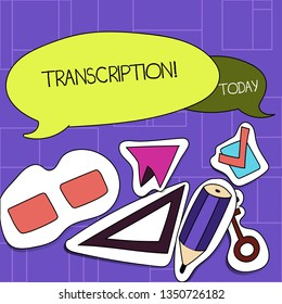 Handwriting text Transcription. Concept meaning Written or printed process of transcribing words text voice Two Blank Colorful Speech Balloon and Different Labels Sticker Style Icons.