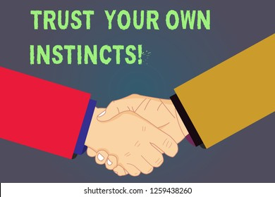 Handwriting text Trust Your Own Instincts. Concept meaning Intuitive follow demonstratingal feelings confidence Hu analysis Shaking Hands on Agreement Greeting Gesture Sign of Respect photo.