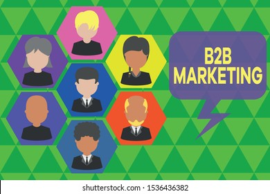 Handwriting text writing B2B Marketing. Concept meaning Partnership Companies Supply Chain Merger Leads Resell Pictures frames chief executive and staff. Organization employees structure.