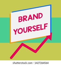 Handwriting text writing Brand Yourself. Concept meaning Develop a unique professional identity Personal product One blank rectangle above another arrow zigzag upwards increasing sale.