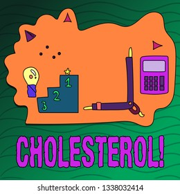 Handwriting text writing Cholesterol. Concept meaning Low Density Lipoprotein High Density Lipoprotein Fat Overweight.