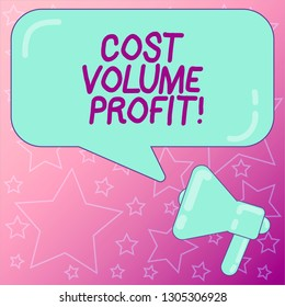 Handwriting text writing Cost Volume Profit. Concept meaning form of cost accounting and It is simplified model Megaphone photo and Blank Rectangular Color Speech Bubble with Reflection.