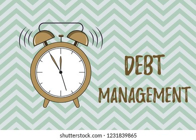 Handwriting text writing Debt Management. Concept meaning The formal agreement between a debtor and a creditor