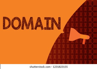 Handwriting text writing Domain. Concept meaning distinct subset of Internet with addresses sharing common suffix