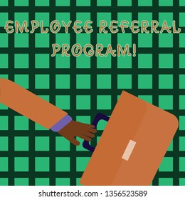 Handwriting text writing Employee Referral Program. Concept meaning Recommend right jobseeker share vacant job post Rushing Businessman Arm Swayed Farther Back and Hand Holding Color Briefcase.