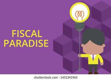 Handwriting text writing Fiscal Paradise. Concept meaning The waste of public money is a great concern topic Standing man tie holding plug socket light bulb to connect idea. Startup.