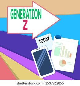 Handwriting text writing Generation Z. Concept meaning name for the generation of children after the millennials Layout Smartphone Off Sticky Notes Clipboard with Pie Chart and Bar Graph.