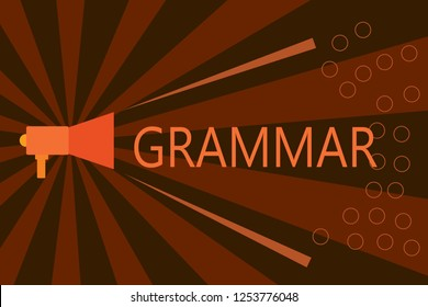 Handwriting text writing Grammar. Concept meaning System and Structure of a Language Correct Proper Writing Rules