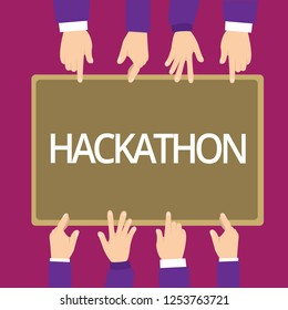 Handwriting text writing Hackathon. Concept meaning event where large number of showing engage in programming