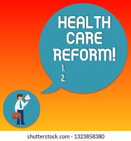 Handwriting text writing Health Care Reform. Concept meaning general rubric used for discussing major Medical policy Man in Necktie Carrying Briefcase Holding Megaphone Blank Speech Bubble.