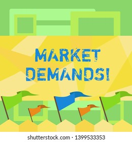 Handwriting text writing Market Deanalysisds. Concept meaning Gather facts about situations that affect marketplace Blank Solid Colorful Pennant Streamer Flag on Stick Mounted on Picket Fence.
