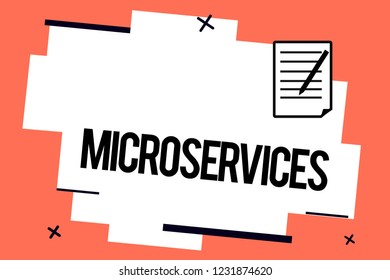 Handwriting text writing Microservices. Concept meaning Software development technique Building single function module