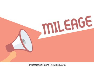 Handwriting text writing Mileage. Concept meaning Number of miles travelled or covered Display panel Car instrument Megaphone loudspeaker speech bubbles important message speaking out loud.