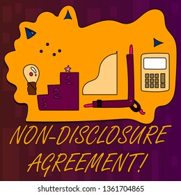 Handwriting text writing Non Disclosure Agreement. Concept meaning parties agree not disclose confidential information Set of Professional Goal Icons for Planning, Advancement and Recognition.