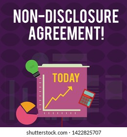 Handwriting text writing Non Disclosure Agreement. Concept meaning Legal Contract Confidential Material or Information Investment Icons of Pie and Line Chart with Arrow Going Up, Bulb, Calculator.