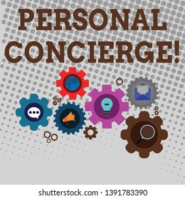 Handwriting text writing Personal Concierge. Concept meaning someone who will make arrangements or run errands Set of Global Online Social Networking Icons Inside Colorful Cog Wheel Gear.