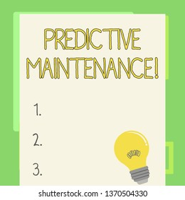 Handwriting text writing Predictive Maintenance. Concept meaning maintenance strategy driven by predictive analytics Incandescent Light Bulb with Filament Inside Resting on Blank Color Paper.